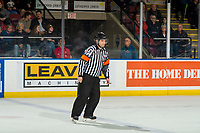 KELOWNA, CANADA - FEBRUARY 23:  Referee Chris Crich skates at the Kelowna Rockets against the Kamloops Blazers on February 23, 2019 at Prospera Place in Kelowna, British Columbia, Canada.  (Photo by Marissa Baecker/Shoot the Breeze)