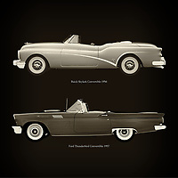 For the lover of old classic cars, this combination of a Buick Skylark Convertible 1956 and Ford Thunderbird Convertible 1957 is truly a beautiful work to have in your home.<br />