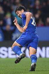 Leicester City's Shinji Okazaki celebrates his goal
