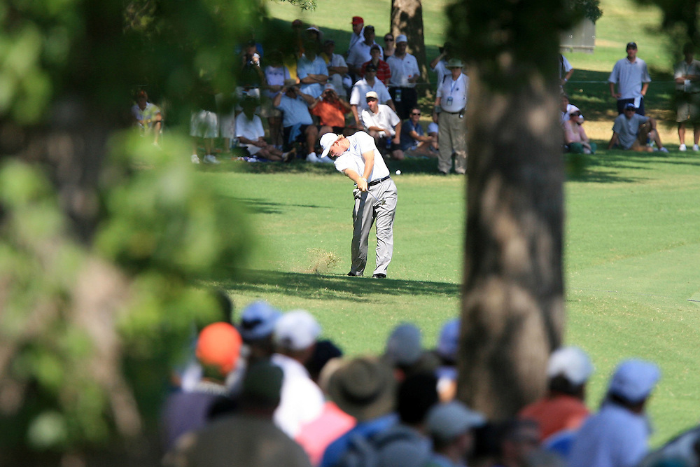 12 August 2007: Ernie Els hits his 2nd shot from the 12th fairway during the final round of the 89th PGA Championship at Southern Hills Country Club in Tulsa, OK.