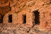 Hike to the prehistoric Nankoweap Granaries (1 mile round trip with 700-foot gain) from Main Nankoweap Camp at Colorado River Mile 53.4. In 1960, archaeologist Douglas W. Schwartz found corncobs, a pumpkin shell, and pumpkin seeds inside the granaries, evidently harvested from Nankoweap Creek Delta by Ancestral Puebloans between AD 1050 and 1150. This image is from a rafting trip through Marble Canyon on Day 3 of 16 days boating 226 miles down the Colorado River in Grand Canyon National Park, Arizona, USA.