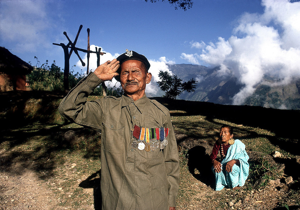 Gurkha VC holder 80 year old Karnabahadur Raha seen with his wife in their village of Litung, Nepal in 1969. Photographed by Terry Fincher