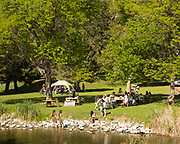People enjoying Ritter Island along the Snake River in Hagerman, Idaho.