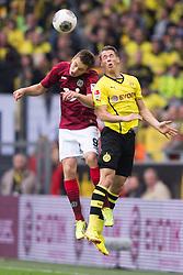 19.10.2013, Signal Iduna Park, Dortmund, GER, 1. FBL, Borussia Dortmund vs Hannover 96, 9. Runde, im Bild Zweikampf zwischen Artur Sobiech (#9 Hannover), Erik Durm (#37 Dortmund)  // during the German Bundesliga 9th round match between Borussia Dortmund and Hannover 96 Signal Iduna Park in Dortmund, Germany on 2013/10/19. EXPA Pictures © 2013, PhotoCredit: EXPA/ Eibner-Pressefoto/ Kurth<br /> <br /> *****ATTENTION - OUT of GER*****