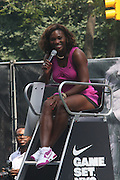 Serena Williams at the Nike Youth Tennis  Challenge held at The Nike -Built regulation Tennis Court  on West 23rd Street & Broadway in New York  City . ..Hundreds of tennis fans and youth form New York  Parks and Rec. Athlethes for Charity, and Mentoring USA are treating to tips and guidance from Tennis Pros Roger Federer, Rafael Nadal and Serena Williams...