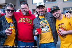 Fred Kodlin (all the way from Germany), Jeff Zielinski, Holger Mohr and Zach Ness at a gathering at the home of Kim and Jon Borneman after the Arlen Ness Memorial - Celebration of Life. Pleasanton, CA, USA. Saturday, April 27, 2019. Photography ©2019 Michael Lichter.