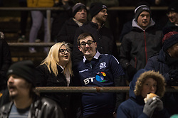 Edinburgh fans brave the bitter South Wales cold with a smile.<br /> <br /> Photographer Simon Latham/Replay Images<br /> <br /> Guinness PRO14 - Dragons v Edinburgh - Friday 23rd February 2018 - Eugene Cross Park - Ebbw Vale<br /> <br /> World Copyright © Replay Images . All rights reserved. info@replayimages.co.uk - http://replayimages.co.uk