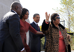 Singer, Aretha Franklin performs in Washington D.C. 16 Aug 2018 Pictured: Singer Aretha Franklin (R) accepts applause as she finishes her performance with United States President Barack Obama, first lady Michelle Obama and Harry Johnson, president and CEO of the MLK National Memorial Project Fund (L) as they attend the dedication of the Martin Luther King, Jr Memorial on the National Mall in Washington DC USA, October 16, 2011. The ceremony for the slain civil rights leader had been postponed earlier in the summer because of Tropical Storm Irene. .Credit: Mike Theiler / Pool via CNP. Photo credit: CNP / MEGA TheMegaAgency.com +1 888 505 6342