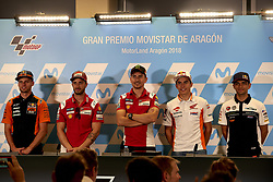 September 22, 2018 - Alcaniz, Teruel, Spain - Brad Binder (41) of Republic of South Africa and Red Bull KTM Ajo KTM, Andrea Dovizioso (4) of Italy and Ducati Team, Jorge Lorenzo (99) of Spain and Ducati Team  and Marc Marquez (93) of Spain and Repsol Honda Team and Jorge Martin (88) of Spain and Del Conca Gresini Moto3 during press conference after qualifying for the Gran Premio Movistar de Aragon of world championship of MotoGP at Motorland Aragon Circuit on September 22, 2018 in Alcaniz, Spain. (Credit Image: © Jose Breton/NurPhoto/ZUMA Press)