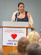 Caleen Allen comments during Volunteers in Public Schools recognition ceremony, May 14, 2015.