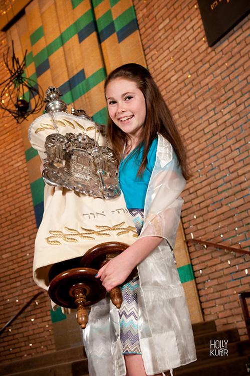 Bat Mitzvah Girl Holding the Torah