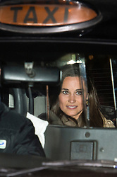 © London News Pictures. 05/12/2012. London, UK. Pippa Middleton, sister of Kate Middleton leaving King Edward VII Hospital in London in a taxi after visiting The Duchess Of Cambridge, who is currently being treated for a type of severe morning sickness called hyperemesis gravidarum. The royal couple announced the pregnancy on Monday. Photo credit: Ben Cawthra/LNP
