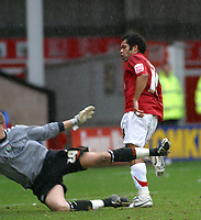 Photo: Dave Linney.<br />Walsall v Barnet. Coca Cola League 2. 24/02/2007.<br />Walsall's Kevin Harper fires home to make it 3-1 to Walsall.