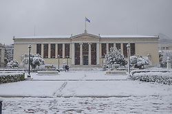 """Athens, during a rare heavy snowfall in the city on February 16, 2021. - Greece's weather agency said the """"low temperatures, ice and snowfall"""" would continue on February 16, with the civil protection agency recommending that people avoid travel."""