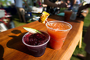 The Market Berry Sangria and Makeshift Michaelada cocktails on display during the Makeshift Festival at Tenney Park in Madison, Wisconsin, Sunday, Aug. 12, 2018.