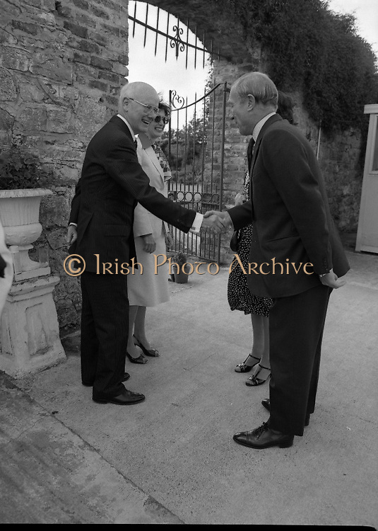 Guests and staff at the US Embassy in Phoenix Park, Dublin, celebrate American Independence Day..1980-07-04.4th July 1980.04/07/1980.07-04-80..Photographed at the US Ambassador's Residence,  Phoenix Park...US Ambassador William V Shannon and his wife Elizabeth McNelly Shannon welcome guests to American Independence Day celebrations.