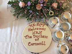 The cake made for the Duchess of Cornwall for her visit to MK-Act, a women's refuge in Milton Keynes.
