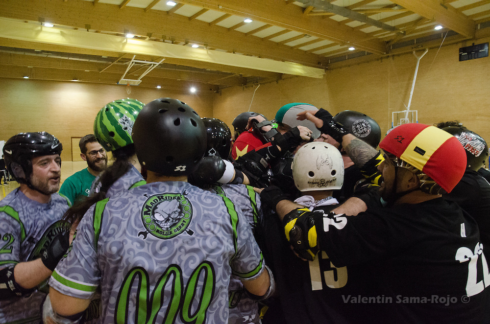 MADRID, SPAIN - January 23, 2016: Players of RockNRollaz and MadRiders congratulating eachother after the match held in Madrid.