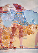 The Minoan 'Procession Fresco' close up , wall art from the South Prpylaeum, Knossos Palace, 1500-1400 BC . Heraklion Archaeological Museum.<br /> <br /> This latrge Minoan fresco of many figure in procession would have decorated the corridor between the West Porch and the South Propylaeum of Knossos Palace. Both sides of the corridor were painted with hundreds of male and femal;e figures carrying precious utensils and vessels, probably depicting gift bearers to the ruler of the Palace. The composition is much like those found in the Palaces and tombs of Egypt and the near east at the time. Neopalatial final period. .<br /> <br /> If you prefer to buy from our ALAMY PHOTO LIBRARY  Collection visit : https://www.alamy.com/portfolio/paul-williams-funkystock/minoan-art-artefacts.html . Type -   Heraklion   - into the LOWER SEARCH WITHIN GALLERY box. Refine search by adding background colour, place, museum etc<br /> <br /> Visit our MINOAN ART PHOTO COLLECTIONS for more photos to download  as wall art prints https://funkystock.photoshelter.com/gallery-collection/Ancient-Minoans-Art-Artefacts-Antiquities-Historic-Places-Pictures-Images-of/C0000ricT2SU_M9w