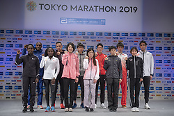 March 1, 2019 - Tokyo, Tokyo, Japan - Invited runners pose for a photograph in Shinjyuku, Tokyo on March1, 2019. Tokyo Marathon wil launch on March 3rd and approximately 38,000 runners will participate in the event. (Credit Image: © Alessandro Di Ciommo/NurPhoto via ZUMA Press)