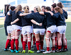 Wales players huddle during the pre match warm up<br /> <br /> Photographer Simon King/Replay Images<br /> <br /> Six Nations Round 3 - Wales Women v England Women - Sunday 24th February 2019 - Cardiff Arms Park - Cardiff<br /> <br /> World Copyright © Replay Images . All rights reserved. info@replayimages.co.uk - http://replayimages.co.uk