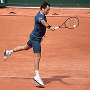 PARIS, FRANCE May 28. Roger Federer of Switzerland during his practice session with David Goffin of Belgium on Court Philippe-Chatrier in preparation for the 2021 French Open Tennis Tournament at Roland Garros on May 28th 2021 in Paris, France. (Photo by Tim Clayton/Corbis via Getty Images)