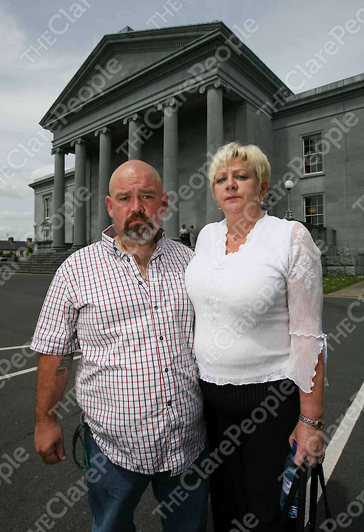 Josephs Chandler ,Step father and Carol Finn,Mother at the inquest at Ennis Courthouse on Monday into the death of Sara Finn.<br /> <br /> Photograph by Eamon Ward<br /> <br /> <br /> <br /> (journalist Gordon Deegan is sending copy)