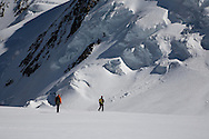 Climbers descending the Col di Lys to the Upper Grenzgletscher, Monte Rosa, Italy