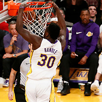 21 January 2018: Los Angeles Lakers forward Julius Randle (30) dunks the ball during the LA Lakers 127-107 victory over the New York Knicks, at the Staples Center, Los Angeles, California, USA.