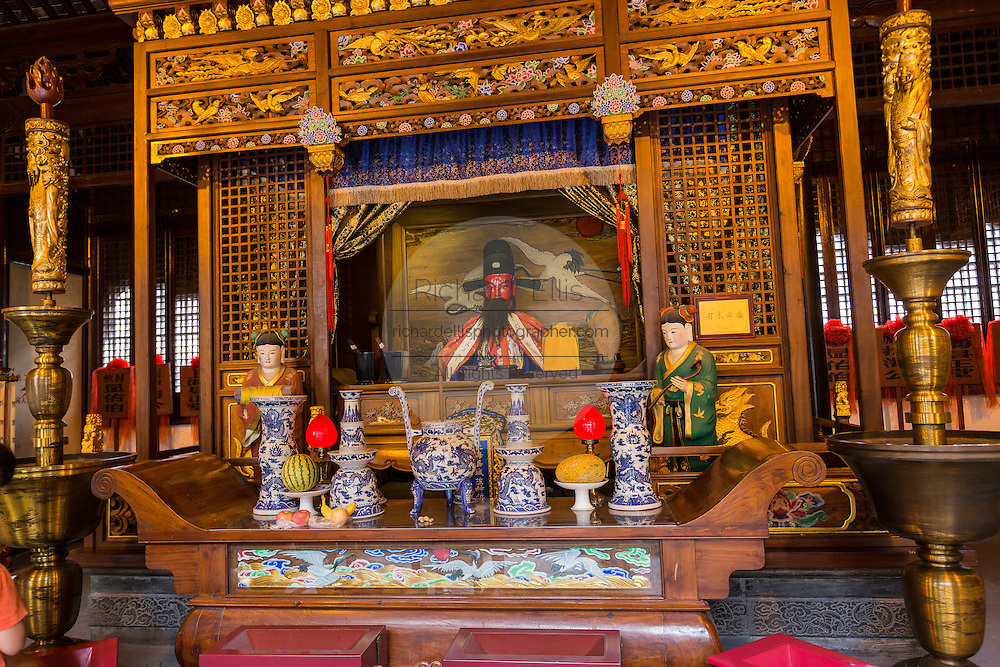 An altar at Chenghuang Miao or City God Temple in Yu Yuan Gardens bazaar Shanghai, China