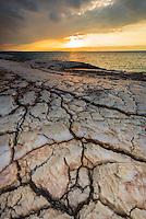 Salt deposits on the shore of the Dead Sea, Jordan.