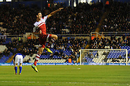 Middlesbrough's Daniel Sanchez Ayala celebrates after he scores his sides 2nd goal during the Skybet football league championship match, Birmingham city v Middlesbrough at St.Andrew's in Birmingham, England on Sat 7th Dec 2013. pic by Jeff Thomas/Andrew Orchard sports photography.