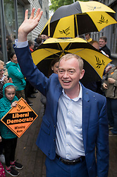 © Licensed to London News Pictures. 01/05/2017. London, UK. Liberal Democrat party leader Tim Farron meets with supporters - as a day of campaigning begins in Kingston-Upon-Thames. The general election is on June 8th 2017. Photo credit: Peter Macdiarmid/LNP