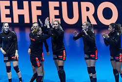 14-12-2018 FRA: Women European Handball Championships France - Netherlands, Paris<br /> Second semi final France - Netherlands / Line up Lois Abbingh #8 of Netherlands , Lynn Knippenborg #11 of Netherlands , Delaila Amega #14 of Netherlands