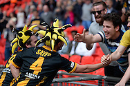 Sayer celebrates after the FA Vase match between Hereford FC  and Morpeth Town at Wembley Stadium, London, England on 22 May 2016. Photo by Dennis Goodwin.