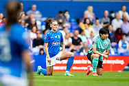 Taking the knee before the FA Women's Super League match between Birmingham City Women and Brighton and Hove Albion Women at St Andrews, Birmingham United Kingdom on 12 September 2021.