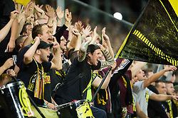 Supporters of Borussia Dortmund during football match between WAC Wolfsberg (AUT) and  Borussia Dortmund (GER) in First leg of Third qualifying round of UEFA Europa League 2015/16, on July 30, 2015 in Wörthersee Stadion, Klagenfurt, Austria. Photo by Vid Ponikvar / Sportida