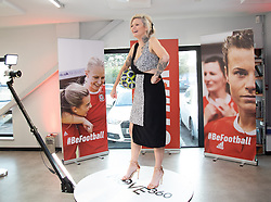 CARDIFF, WALES - Monday, August 19, 2019: Presenter Polly James poses for a 360 video during the launch event for the Be.Football campaign at the Wales women's squad annoucement ahead of the UEFA Women Euro 2021 qualifying Group C games against Faroe Islands and Northern Ireland at Orchard HQ. (Pic by Kunjan Malde/Propaganda)