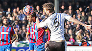 Crystal Palace Glenn Murray beats Dover Athletic Sean Raggett in the air during the The FA Cup Third Round match between Dover Athletic and Crystal Palace at Crabble Athletic Ground, Dover, United Kingdom on 4 January 2015. Photo by Phil Duncan.