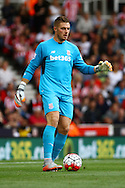 Stoke City Goalkeeper Jack Butland in action. Barclays Premier League match, Stoke city v West Bromwich Albion at the Britannia stadium in Stoke on Trent, Staffs on Saturday 29th August 2015.<br /> pic by Chris Stading, Andrew Orchard sports photography.