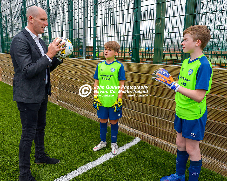 Former League of Ireland goalkeeper, Gary Rogers, gives advice to Sean Heffernan (left) and Sean Horan    at the FAI Summer Soccer Schools at MDL, Navan.<br /> <br /> Photo: GERRY SHANAHAN-WWW.QUIRKE.IE<br /> <br /> 01-07-2021