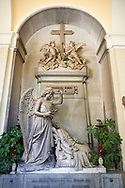 Picture and image of the stone sculpture of an angel blessing the deceased lying on a chez longue. Bonini Tomb sculpted by D Carli 1891. Section A, no 27, The monumental tombs of the Staglieno Monumental Cemetery, Genoa, Italy .<br /> <br /> Visit our ITALY PHOTO COLLECTION for more   photos of Italy to download or buy as prints https://funkystock.photoshelter.com/gallery-collection/2b-Pictures-Images-of-Italy-Photos-of-Italian-Historic-Landmark-Sites/C0000qxA2zGFjd_k<br /> If you prefer to buy from our ALAMY PHOTO LIBRARY  Collection visit : https://www.alamy.com/portfolio/paul-williams-funkystock/camposanto-di-staglieno-cemetery-genoa.html