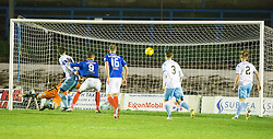 Forfar Athletic's Grant Adam can't stop Cowdenbeath's Fraser Mullen's second goal. Cowdenbeath 3 v 4 Forfar Athletic, Scottish Football League Division Two game played 17/12/2016 at Central Park.