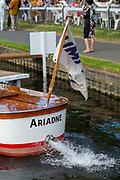 Henley on Thames, England, United Kingdom, 5th July 2019, Henley Royal Regatta, Umpires launch, Ariadne, starts her motor as she'd moored outside the Bridge Bar,   [© Peter SPURRIER/Intersport Image]<br /> <br /> 17:21:55 1919 - 2019, Royal Henley Peace Regatta Centenary,