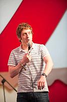 Elis James wows the audience at the 2014 Dinefwr Literature Festival. Llandeilo, Carmarthenshire, UK. 21st June 2014.  Photo: SnapDragon
