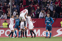 May 9, 2018 - Seville, Spain - Players of Sevilla celebrates after scoring 2-0 during the La Liga soccer match between Sevilla FC and Real Madrid at Sanchez Pizjuan Stadium (Credit Image: © Daniel Gonzalez Acuna via ZUMA Wire)
