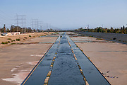 Los Angeles River looking south, Bell, Los Angeles County, California, USA
