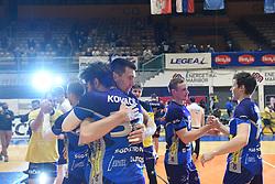 Alen Sket and Tit Kovacic of OK Merkur Maribor celebrating as National Champions after winning 1. DOL final match between OK Merkur Maribor and ACH Volley, on April 25, 2021 in Dvorana Tabor, Maribor, Slovenia. Photo by Milos Vujinovic / Sportida