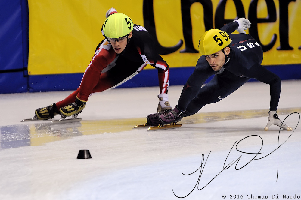 2008 World Cup Short Track - Vancouver - Jeff Simon (USA) competes during the 5000m Men's Relay A Final.
