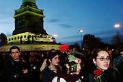 Place de la Bastille, Paris, France. March 31st 2006..Students against the government's controversial youth employment laws, known as CPE, gather at Place de la Bastille to listen to Jacques Chirac's speech.